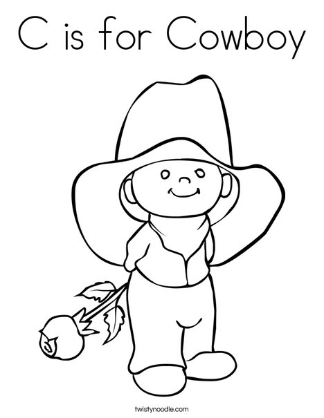 Cowboy with Rose Coloring Page