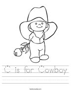 C is for Cowboy Handwriting Sheet