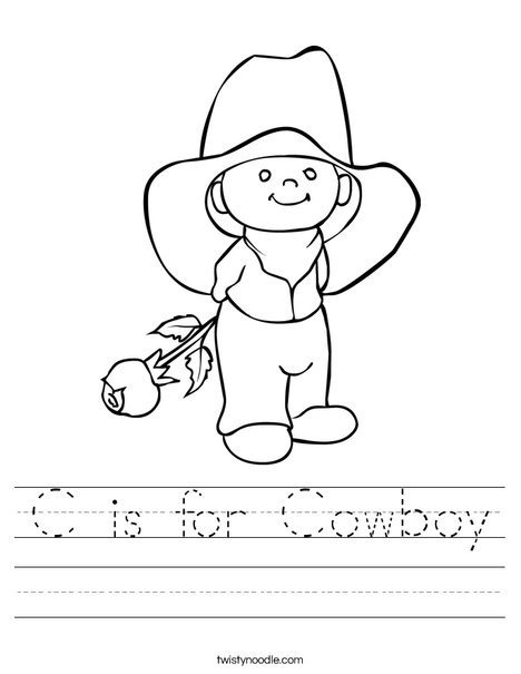 Cowboy with Rose Worksheet