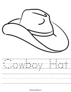 Cowboy Hat Handwriting Sheet