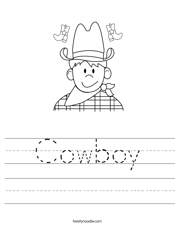 Cowboy Worksheet Twisty Noodle