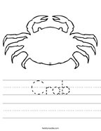 Crab Handwriting Sheet