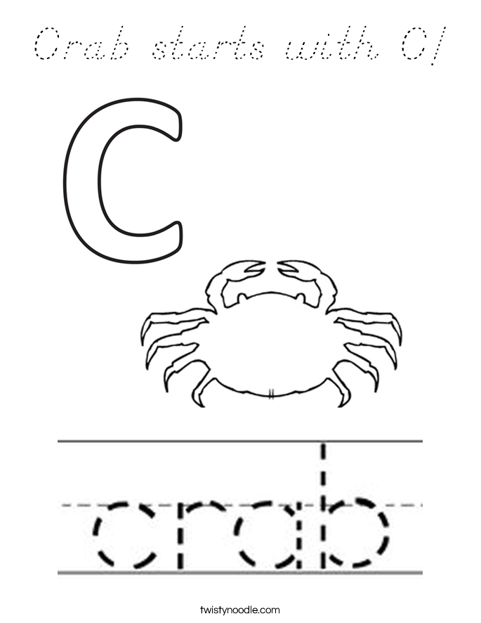 Crab starts with C! Coloring Page