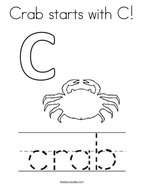 Crab starts with C Coloring Page