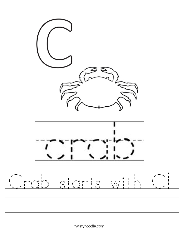 Crab starts with C! Worksheet