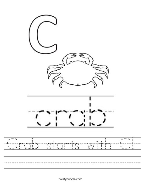 Crab starts with C! Worksheet
