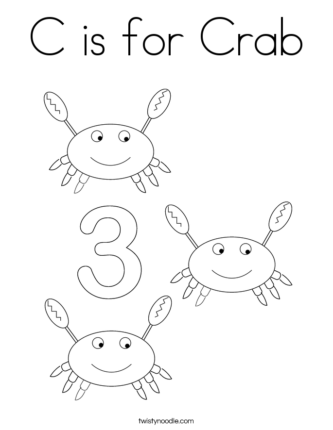 c is for crab coloring page - Crab Coloring Pages