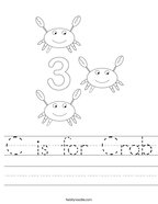 C is for Crab Handwriting Sheet