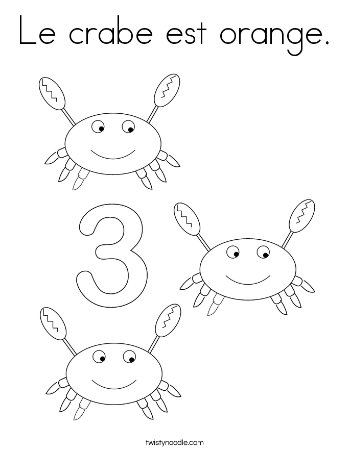 Le crabe est orange. Coloring Page