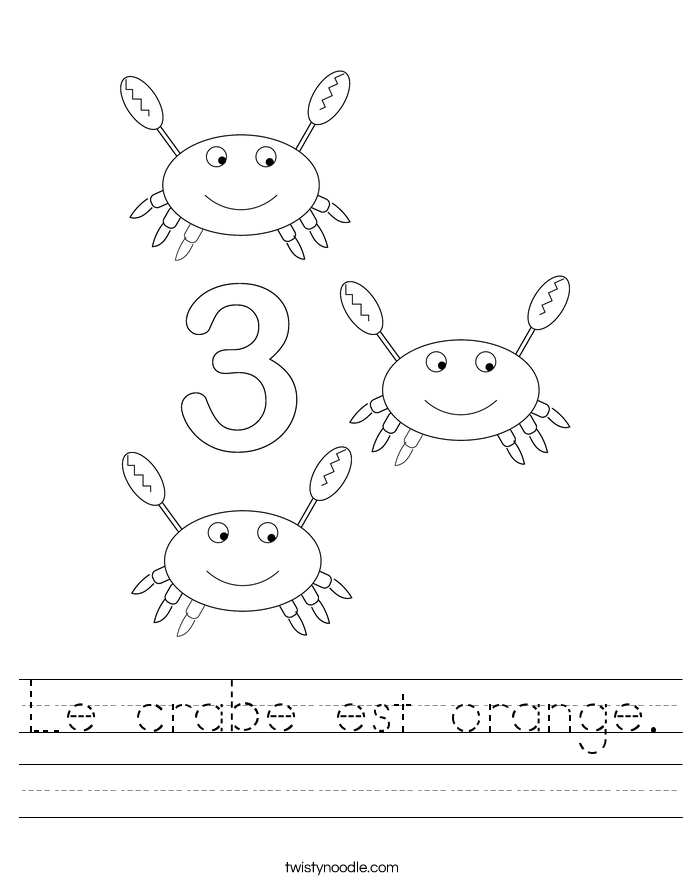 Le crabe est orange. Worksheet