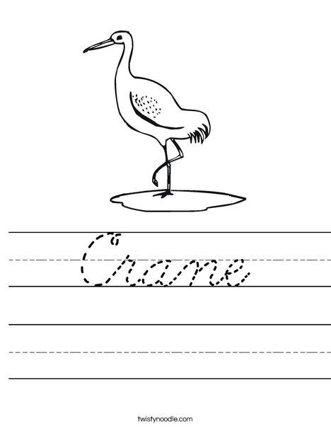 Crane Worksheet