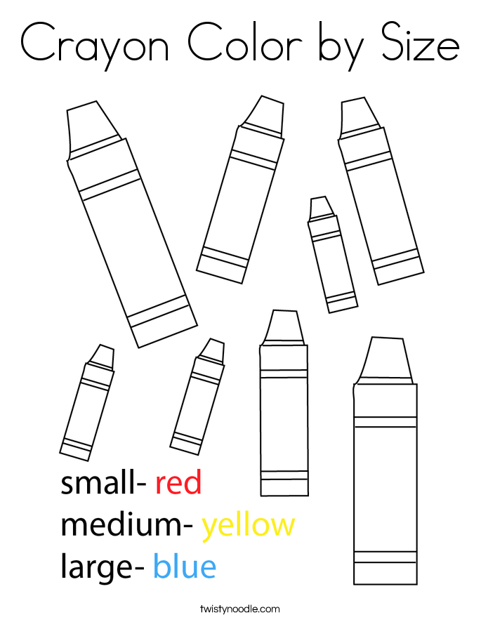 Crayon Color by Size Coloring Page