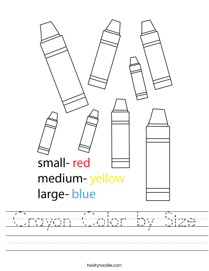 Crayon Color by Size Worksheet