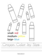 Crayon Color by Size Handwriting Sheet