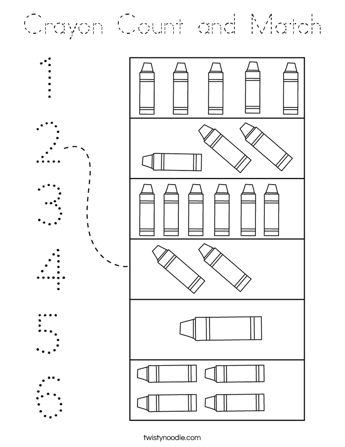 Crayon Count and Match Coloring Page