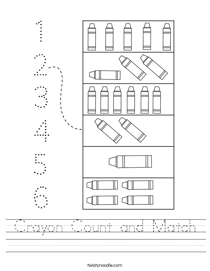 Crayon Count and Match Worksheet
