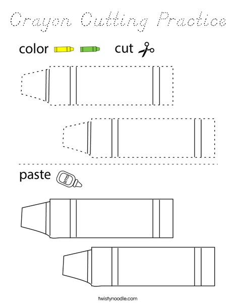 Crayon Cutting Practice Coloring Page