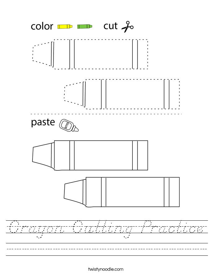 Crayon Cutting Practice Worksheet