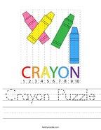 Crayon Puzzle Handwriting Sheet