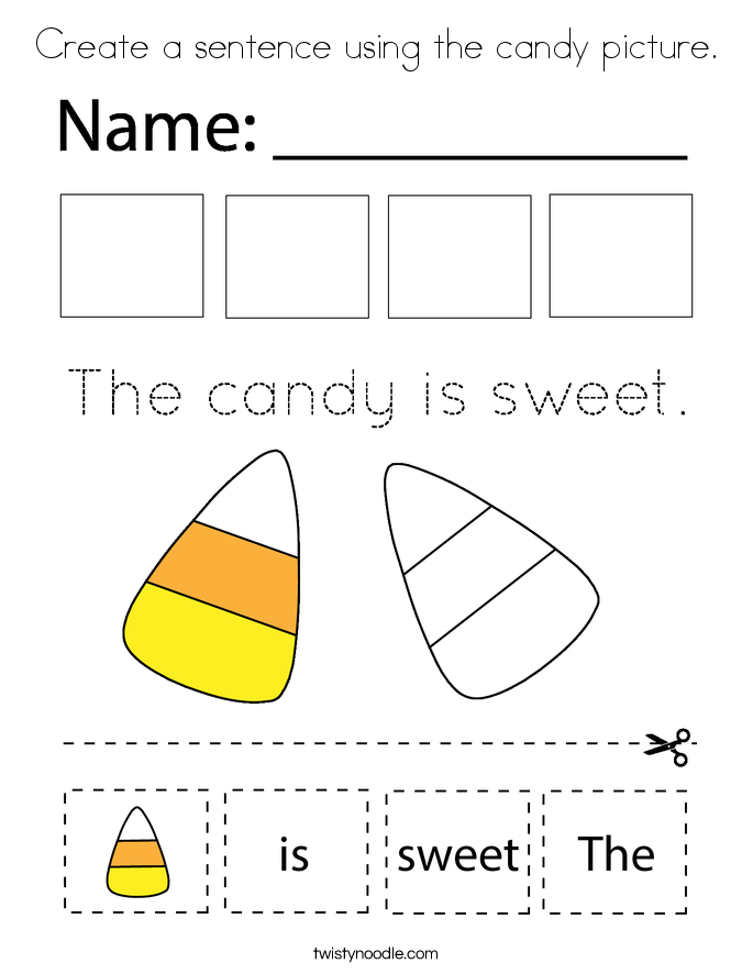 Create a sentence using the candy picture. Coloring Page