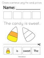 Create a sentence using the candy picture Coloring Page