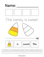 Create a sentence using the candy picture Handwriting Sheet