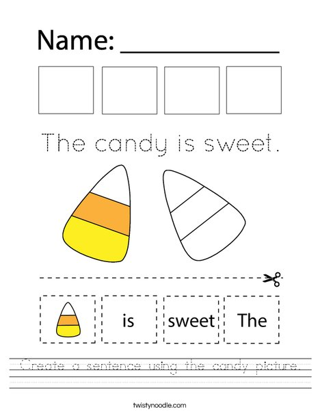 Create a sentence using the candy picture. Worksheet