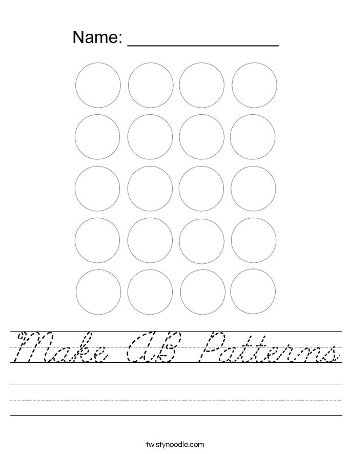 Make AB Patterns Worksheet