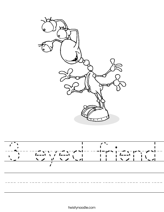 3 eyed friend Worksheet