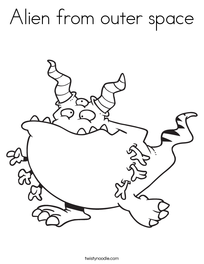 Alien from outer space Coloring Page