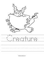 Creature Handwriting Sheet