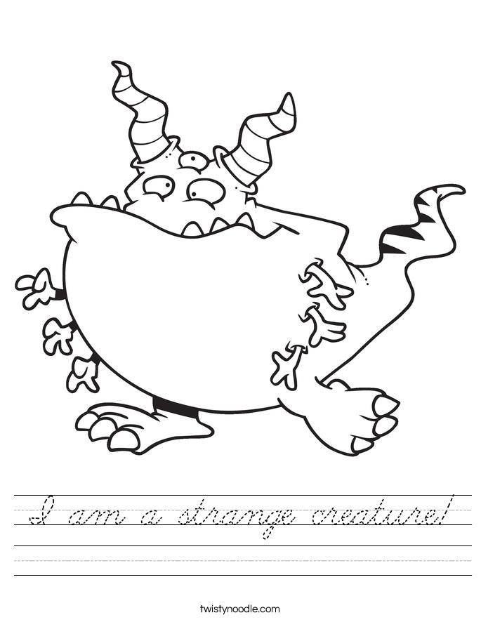 I am a strange creature! Worksheet