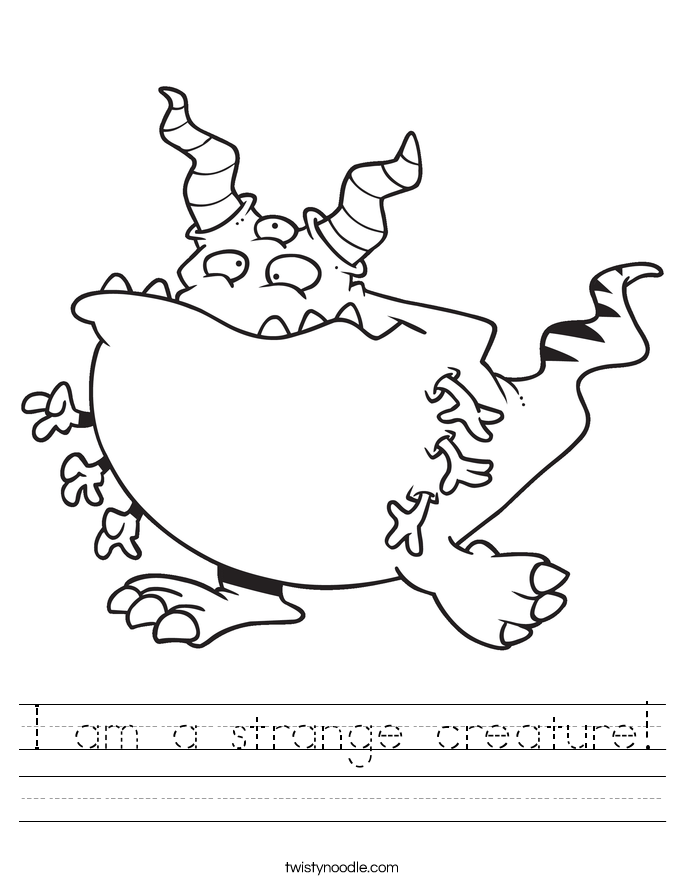I am a strange creature! Worksheet