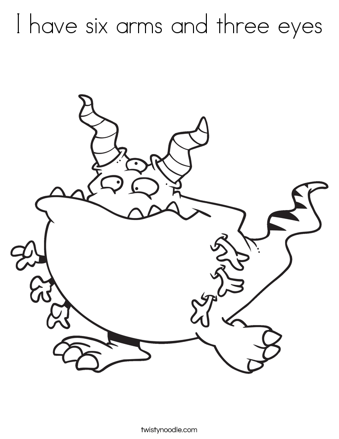 I have six arms and three eyes Coloring Page