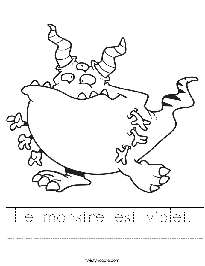 Le monstre est violet. Worksheet
