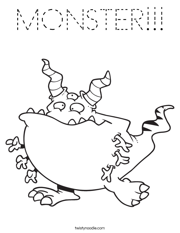 monster outline coloring pages - photo#10