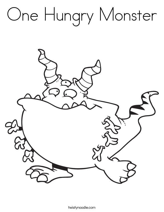 One Hungry Monster Coloring Page