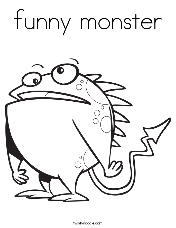 funny monster Coloring Page Twisty Noodle