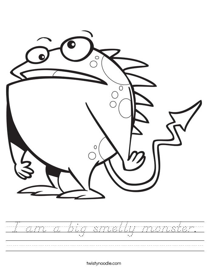 I am a big smelly monster. Worksheet