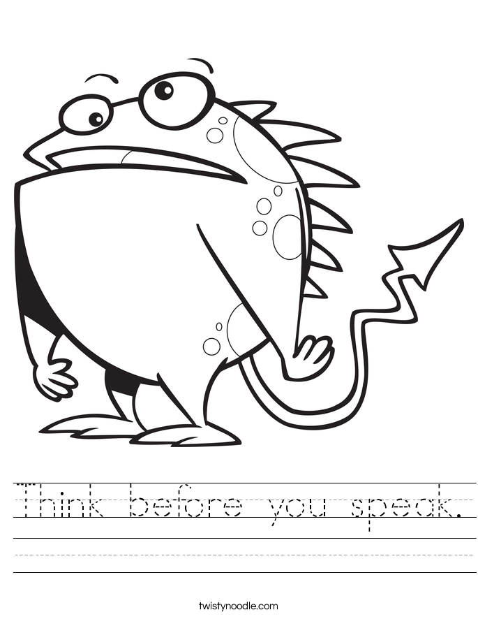 Think before you speak. Worksheet