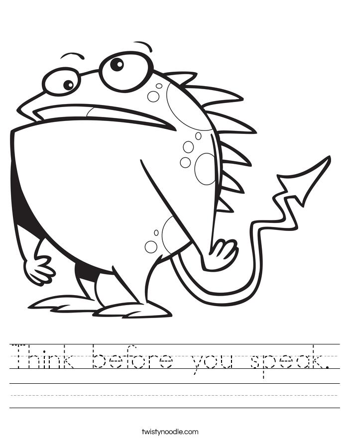 Think before you speak. Worksheet