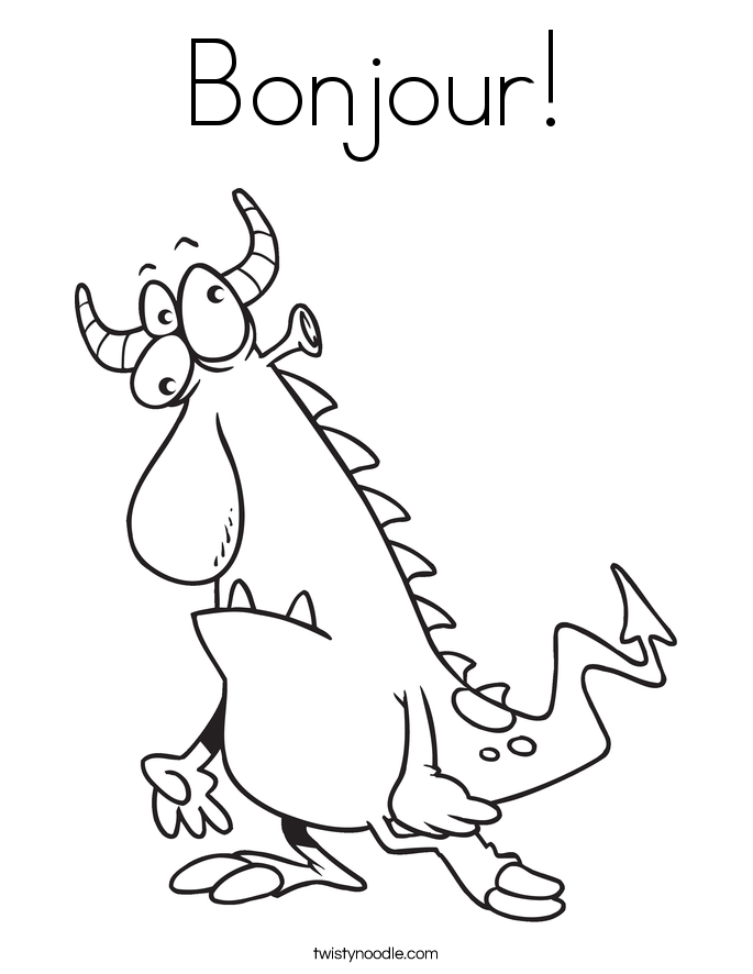 Bonjour! Coloring Page