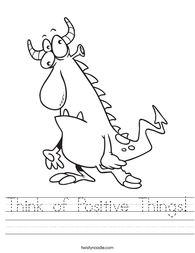 Think of Positive Things! Worksheet