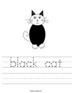 black cat Handwriting Sheet