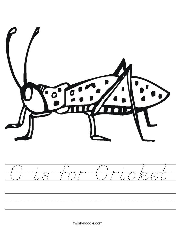C is for Cricket Worksheet