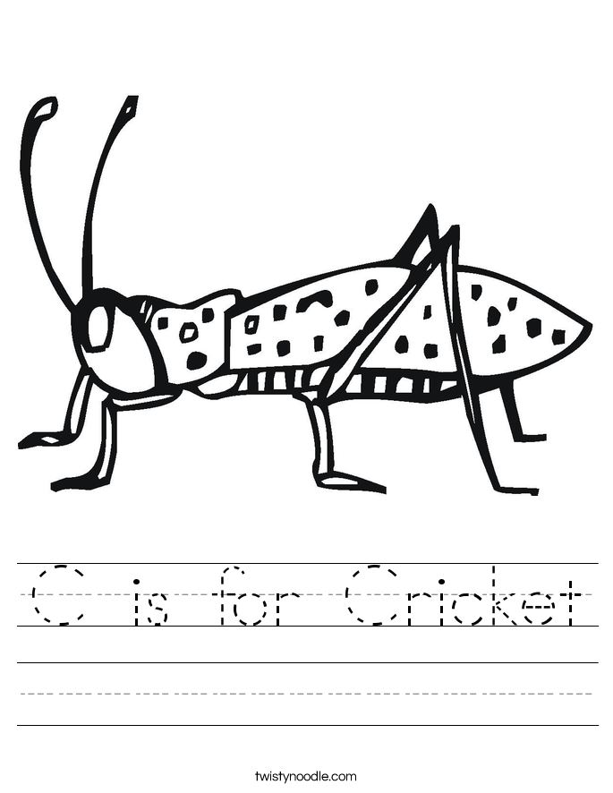 C is for Cricket Worksheet