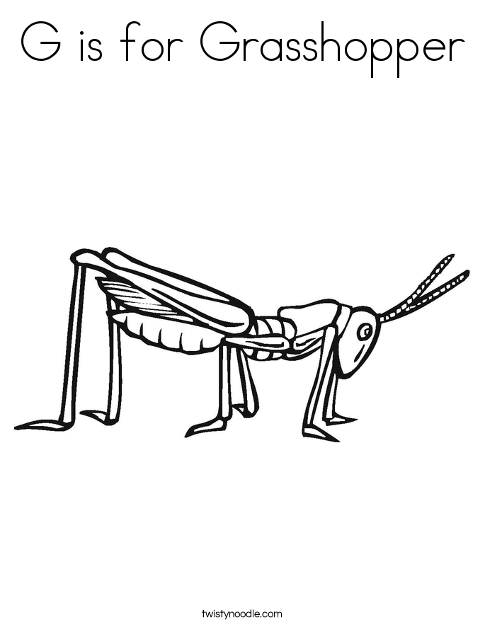 G is for Grasshopper Coloring Page