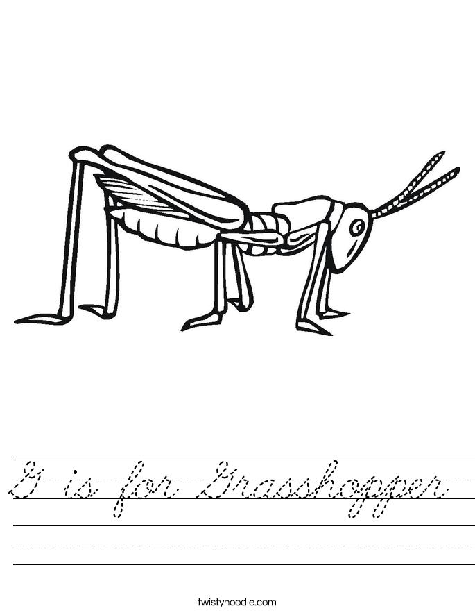 G is for Grasshopper Worksheet