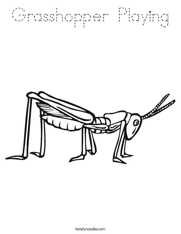 Grasshopper Playing Coloring Page