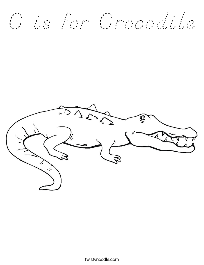 C is for Crocodile Coloring Page